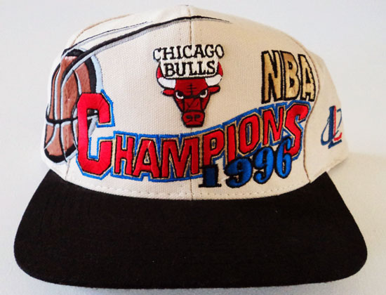 VINTAGE CHICAGO BULLS 1996 NBA CHAMPIONS LOCKER ROOM SNAPBACK CAP BY  LOGO  ATHLETIC 5ea7d30f9c9